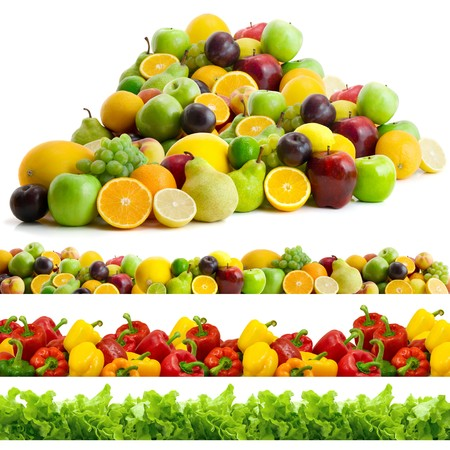 collection of vegetables and fruits isolated on the white background Stock Photo - 4174645
