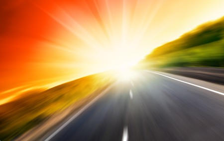 motion blur road and sun Stock Photo - 4502471