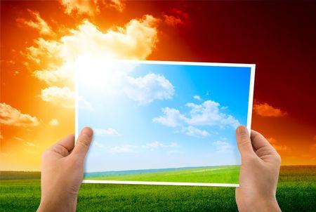 """foto di """"green field"""" in mano Archivio Fotografico - 4635437"""