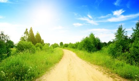 dirt road: road from sand and perfect summer day