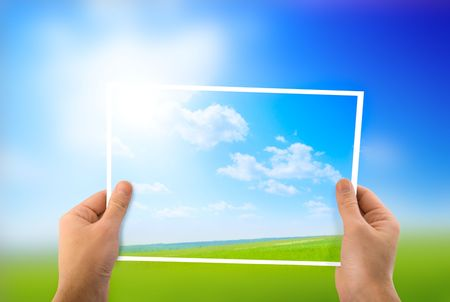 photo of green field in hands Stock Photo - 4703806