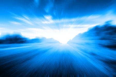 sulight: motion blur road Stock Photo
