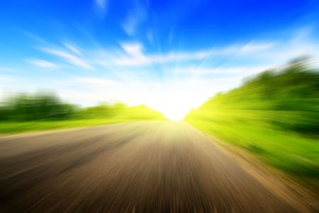 sulight: motion blur road and sun