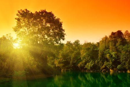 sunset in jungle of Thailand Stock Photo - 4781272