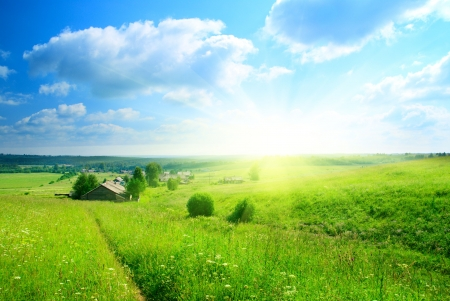 country landscape: perfect summer day in russian village
