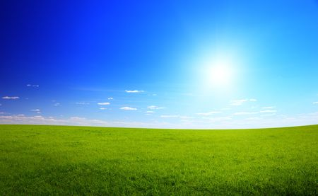sunny spring day and green field Stock Photo - 5006070