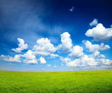sunny spring day and green field Stock Photo - 5097444