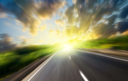 motion blur road and sun Stock Photo - 5132260