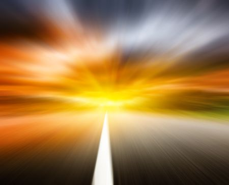 sulight: blur road and dramatic sky