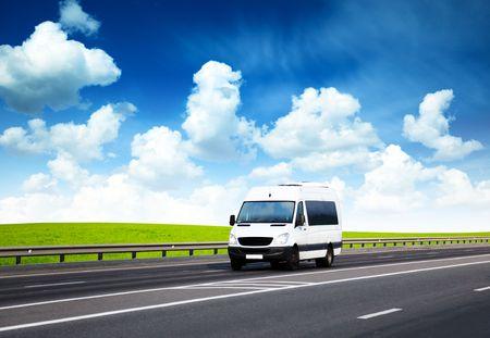 cargo van: van on road and perfect summer day Stock Photo