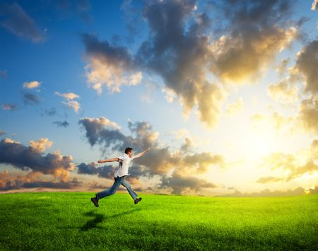 in run: running happy young man