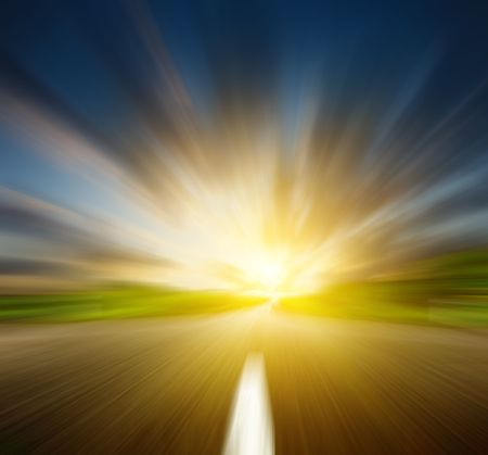 sulight: sunset and motion blur road