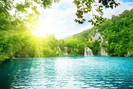 plitvice: lake in deep mountain forest Stock Photo