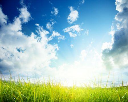 sol radiante: hierba verde y cielo nublado Foto de archivo