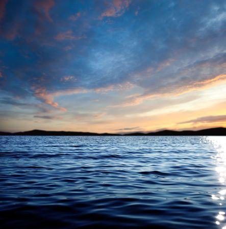 beautiful lake: sea and sunset