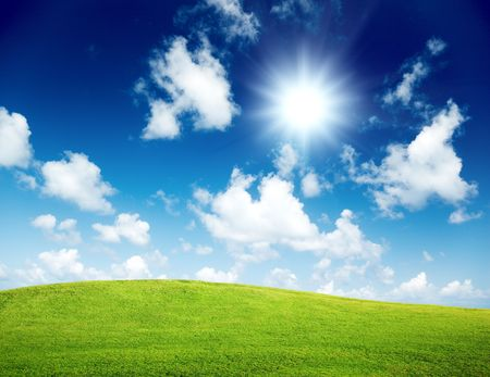 green field and blue sky Stock Photo - 6008165