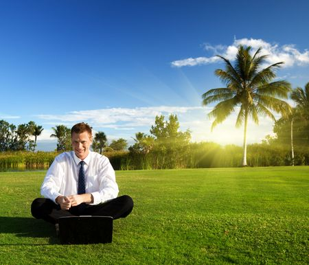 happy young businessman and sunset Stock Photo - 6330761