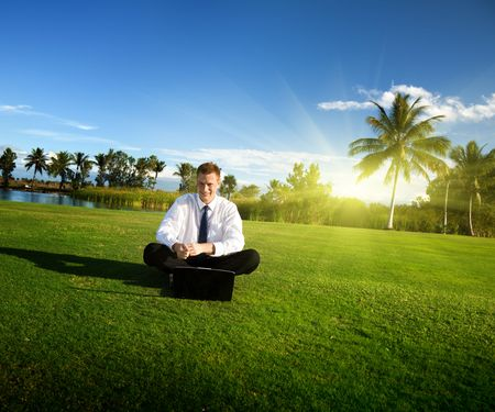 happy young businessman and sunset Stock Photo - 6378021