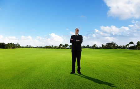 young businessman on green field