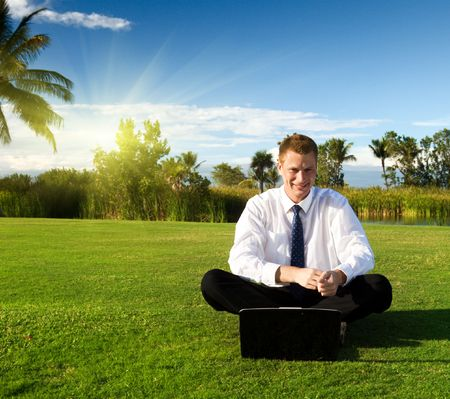 happy young businessman and sunset Stock Photo - 6436355