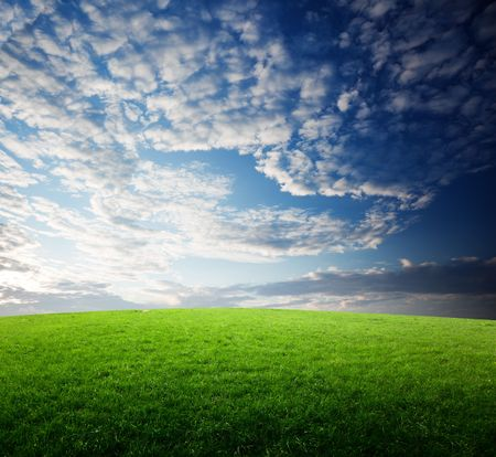field of grass and sunset Stock Photo - 6545225