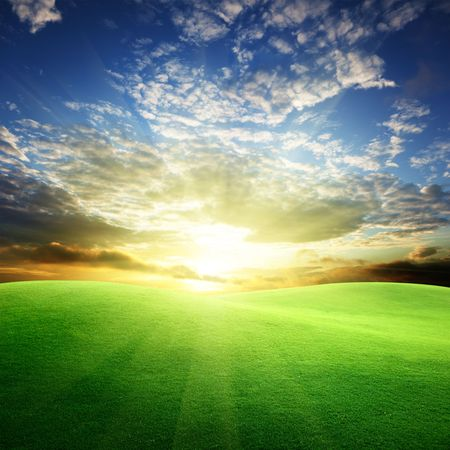 field of grass and sunset Stock Photo - 6545217