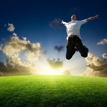 jumping happy young man Stock Photo - 6595008