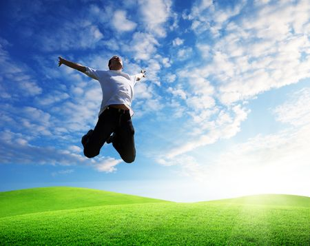 jumping happy young man Stock Photo - 6595006