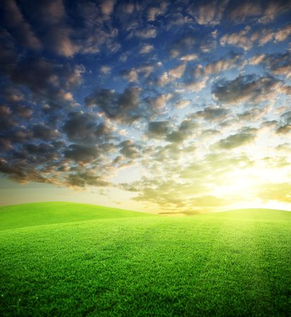 field of grass and sunset Stock Photo - 6596860