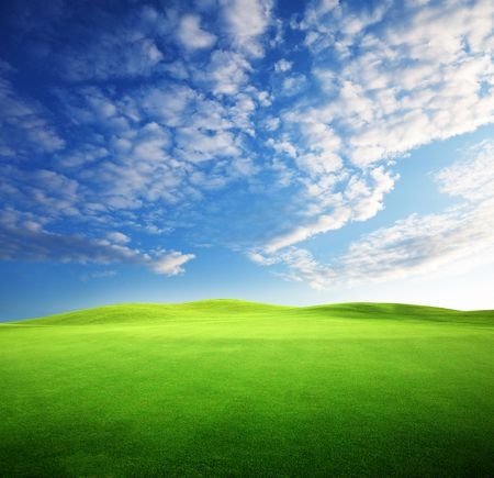 field of grass and perfect sunset sky Stock Photo - 6648050
