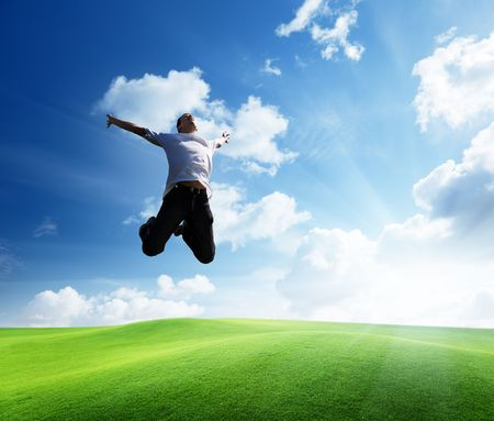 jumping happy young man Stock Photo - 6628300
