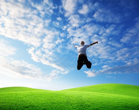 jumping happy young man Stock Photo - 6628296