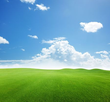 green field and blue sky Stock Photo - 6689147