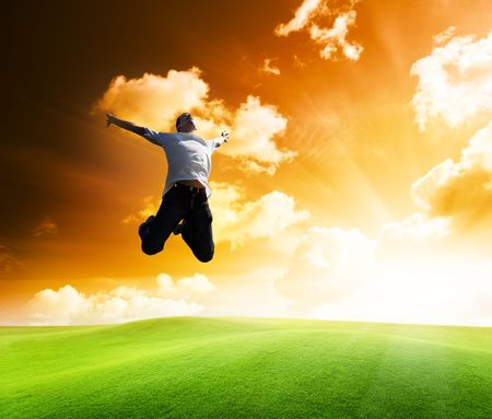 jumping happy young man Stock Photo - 6677074
