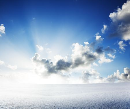 field of snow and cloudy sky Stock Photo - 6689142