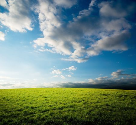 field of grass and sunset Stock Photo - 6735428