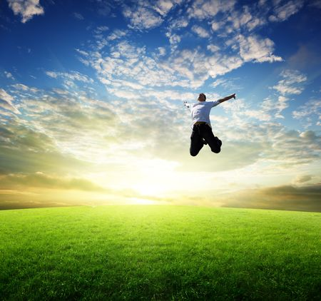 jumping happy young man Stock Photo - 6738200
