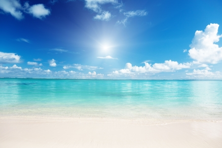 caribbean island: sand and Caribbean sea