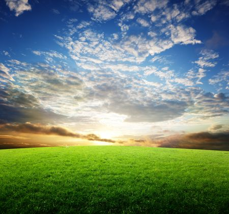 field of grass and sunset Stock Photo - 6777691