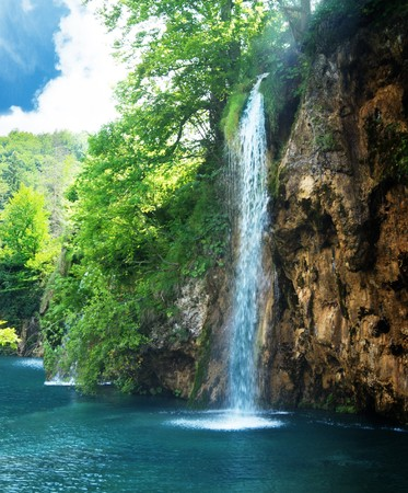 waterfall with sky: waterfall in deep forest