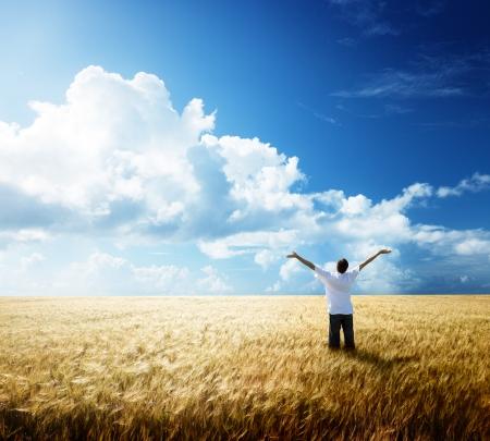 exito: resto de hombre joven feliz en el campo de trigo