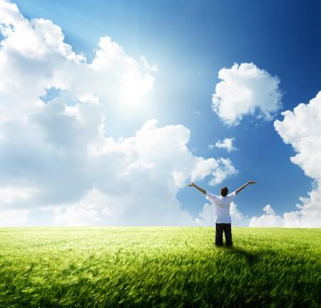 joy health: happy young man rest on wheat field