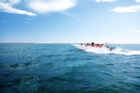 people on speedboat, Dominican republic Stock Photo