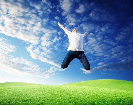 jumping happy young man Stock Photo - 8347173