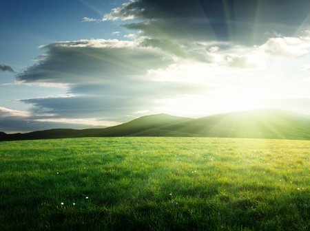 ray of light: field of grass in north mountain Stock Photo