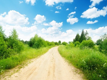 ground road and summer sunny day photo