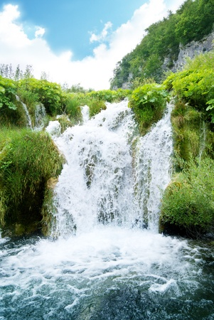 waterfall in deep forest of Croatia photo