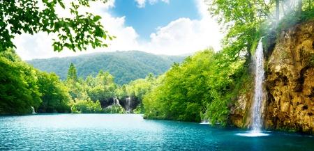 waterfall in deep forest of Croatia photo