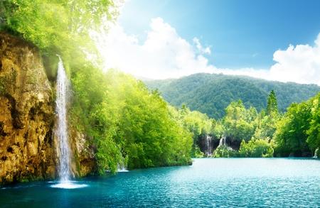 waterfall with sky: waterfall in deep forest of Croatia