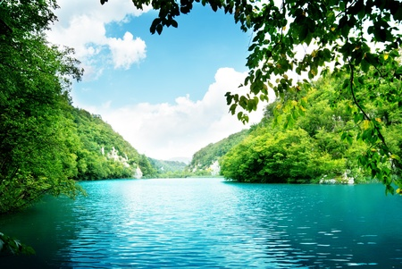 pastoral: lake in deep forest Stock Photo